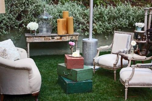 Shabby Chic Wedding - lounge area flowers