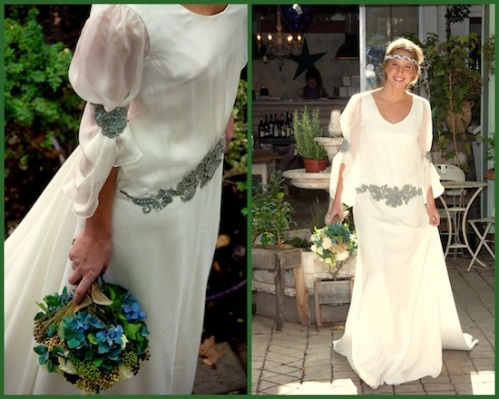 vestido novia detalle en plateado