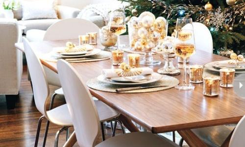 decoración mesa dorada