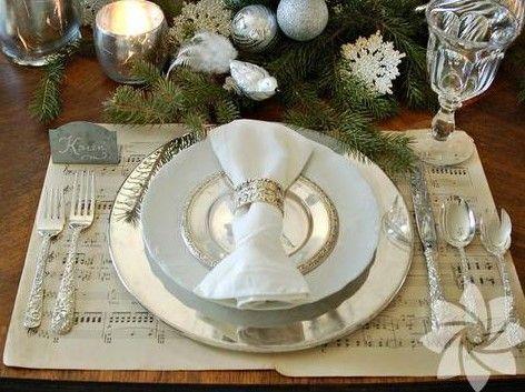 mesa navideña en plateados