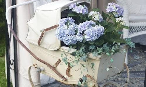 detalle con hortensias azules