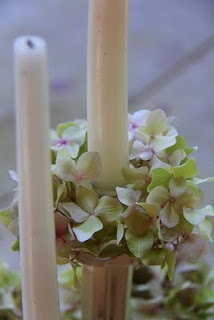 velas con hortensias