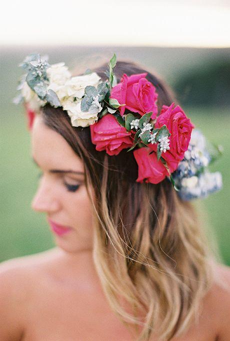 corona de novia flores