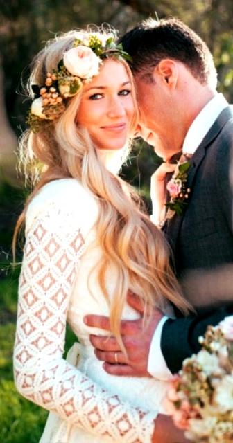 corona de peonias novia