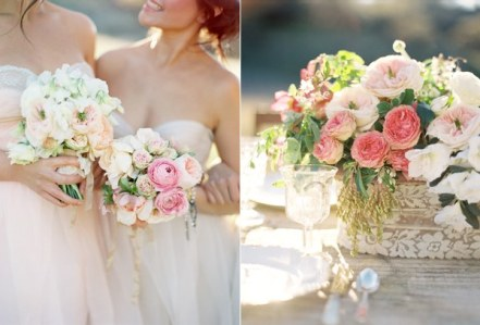 5.pink-wedding-flowers-lace-wrapped-centerpiece